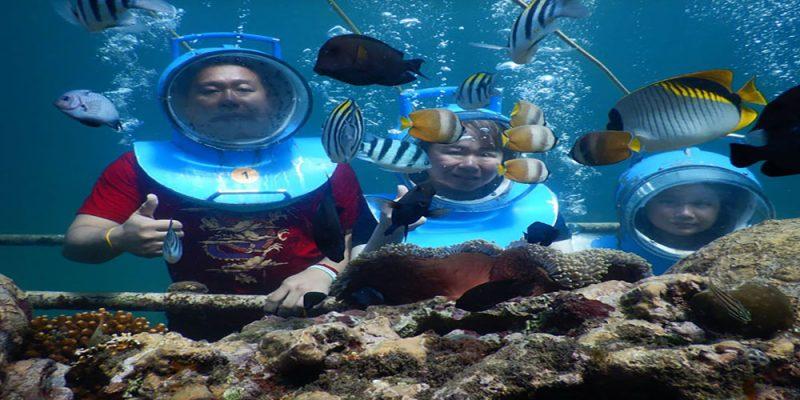 Exotic Sea Walker Scenery at Nusa Lembongan - Bali Tour Package